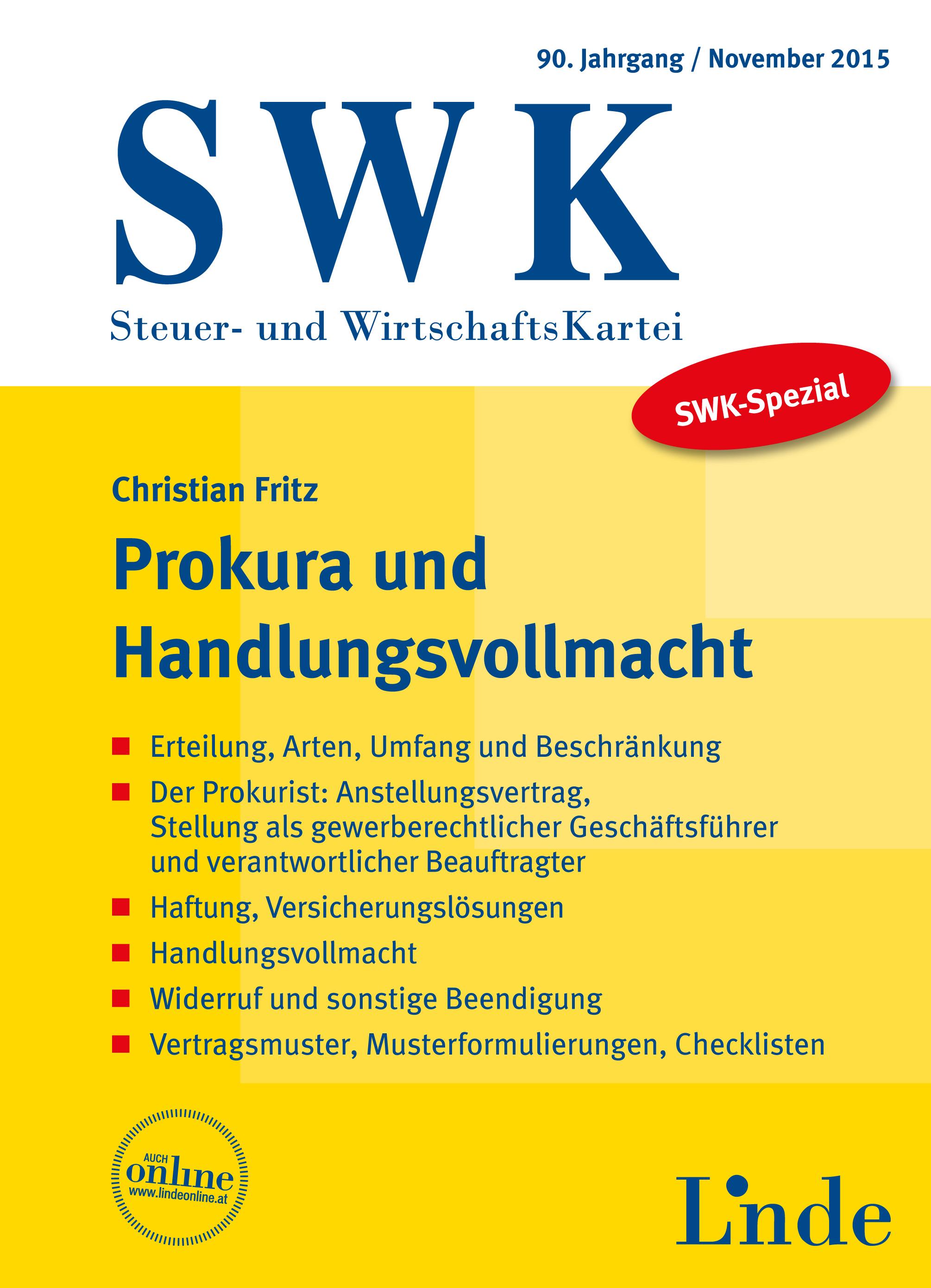 Swk Spezial Prokura Und Handlungsvollmacht Linde Verlag