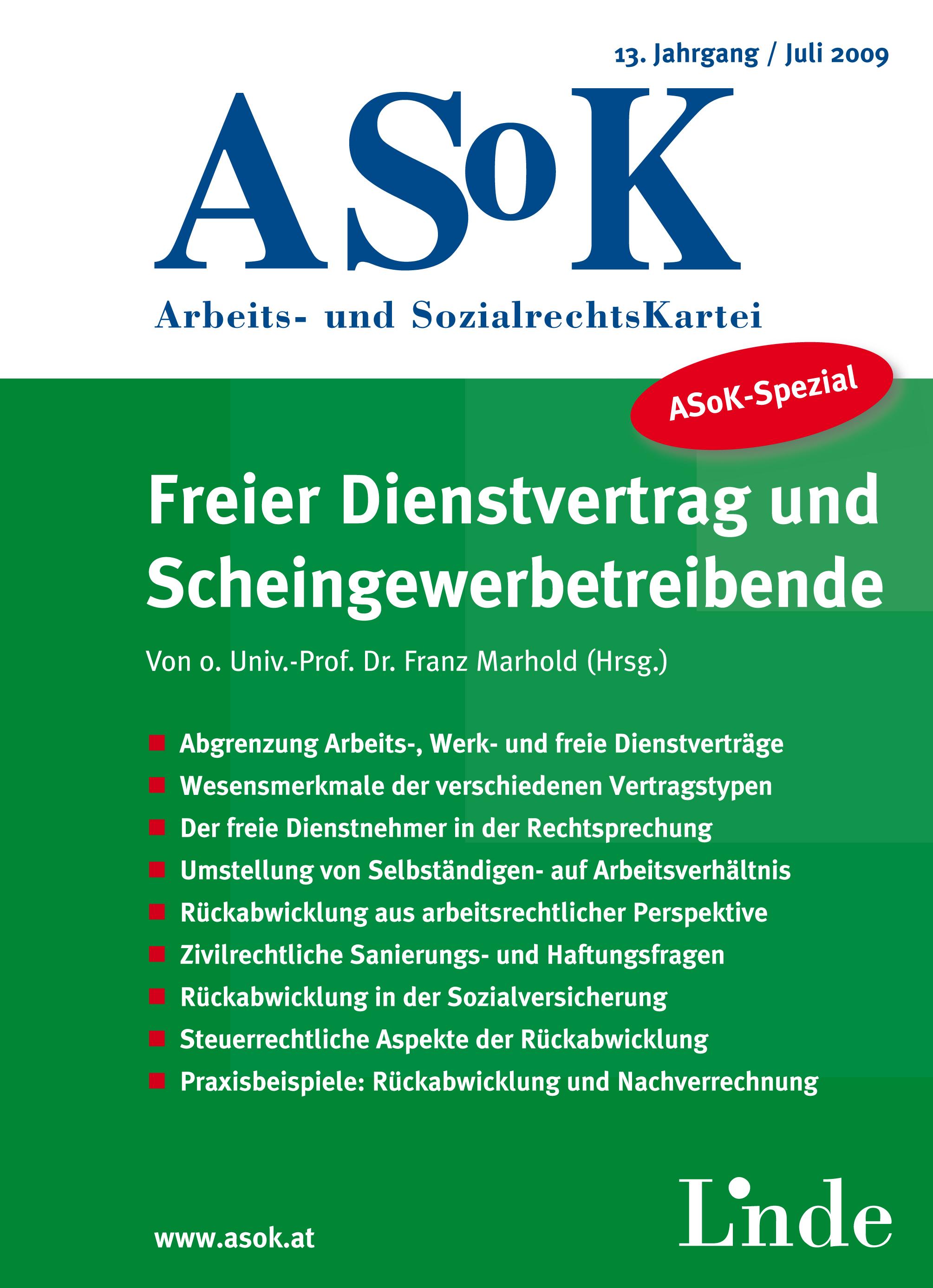 Asok Spezial Freier Dienstvertrag Und Scheingewerbetreibende