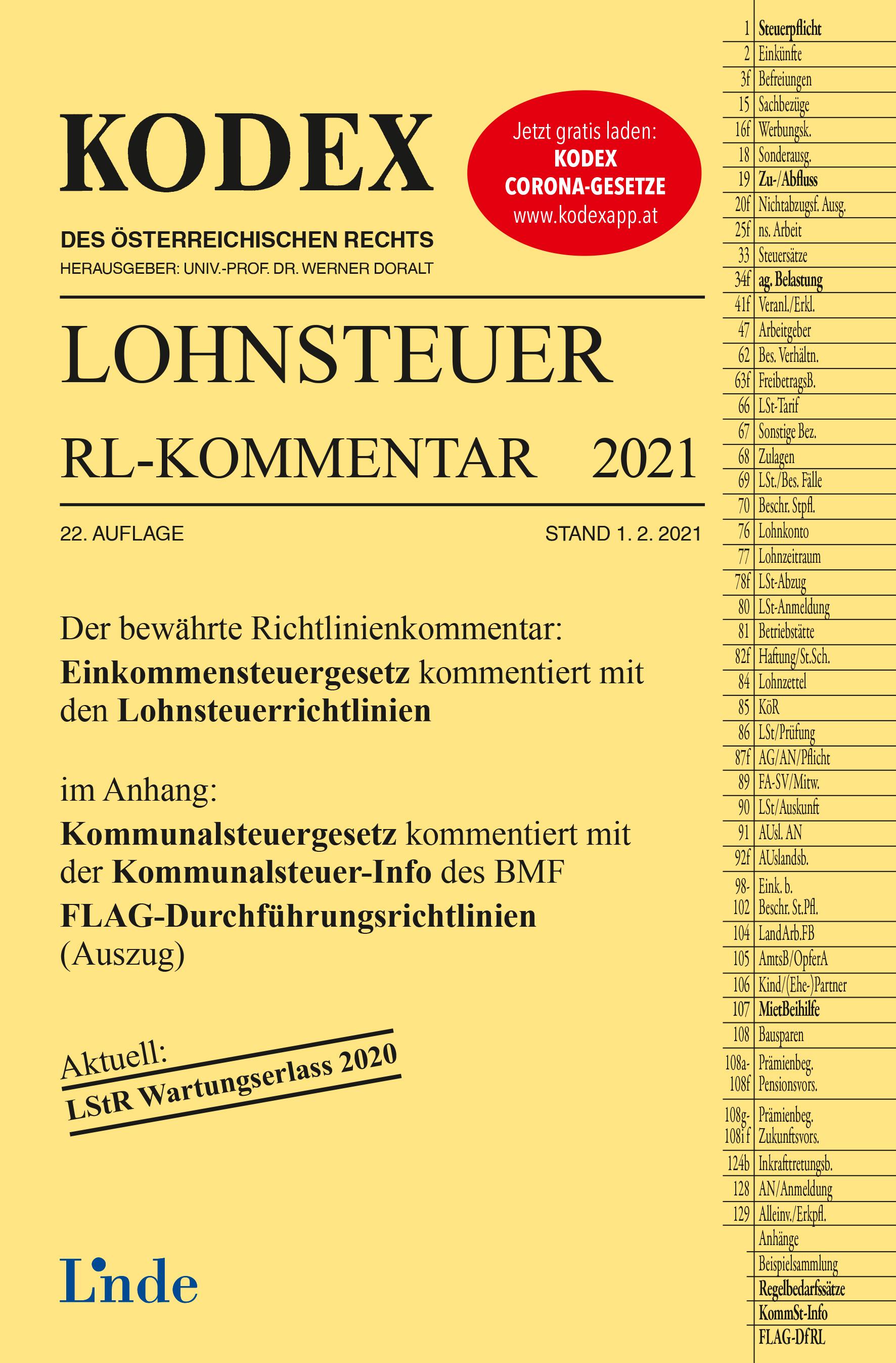 KODEX Lohnsteuer Richtlinien-Kommentar 2021 | Linde Verlag