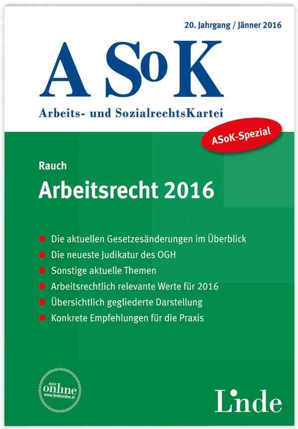 Asok Spezial Arbeitsrecht 2016 Linde Verlag