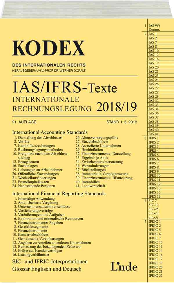KODEX Internationale Rechnungslegung IAS/IFRS - Texte 2018/19