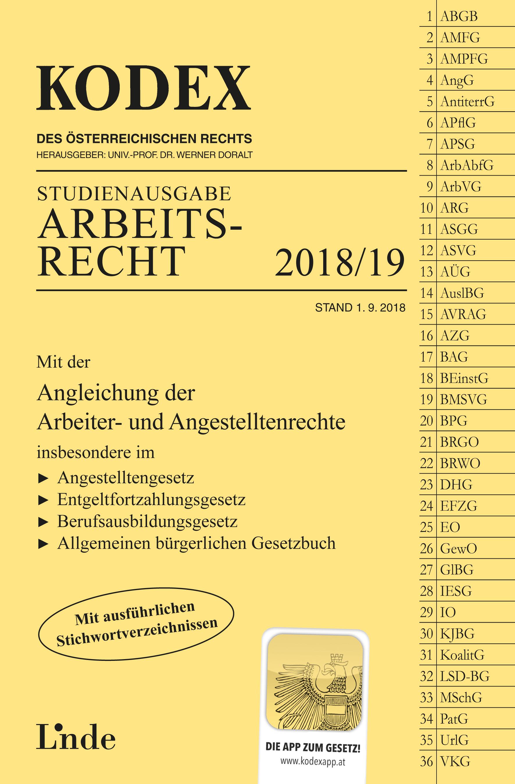 Kodex Arbeitsrecht 201819 Linde Verlag