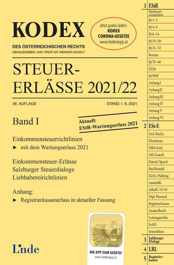 KODEX Steuer-Erlässe 2021/22, Band I