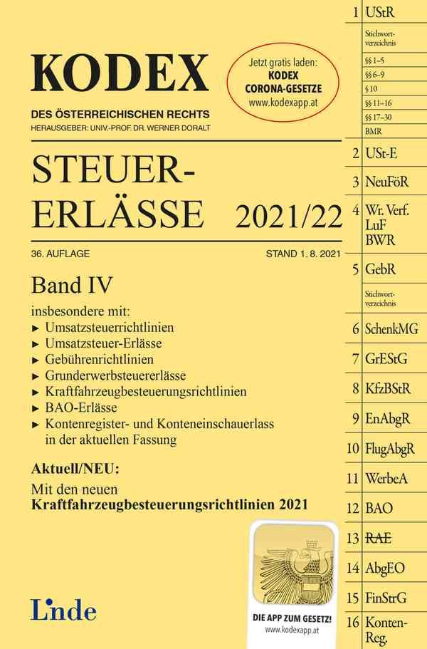KODEX Steuer-Erlässe 2021/22, Band IV