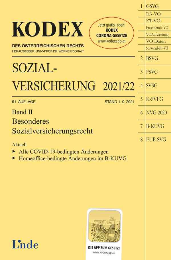 KODEX Sozialversicherung 2021/22, Band II