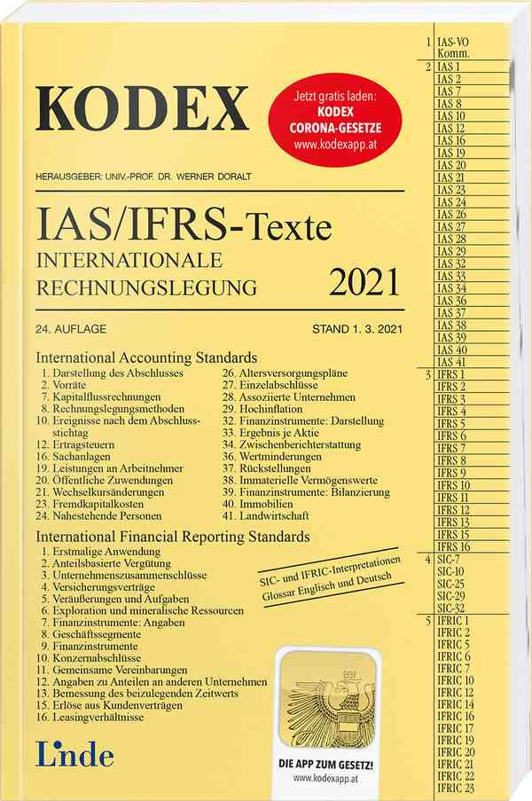 KODEX Internationale Rechnungslegung IAS/IFRS - Texte 2021