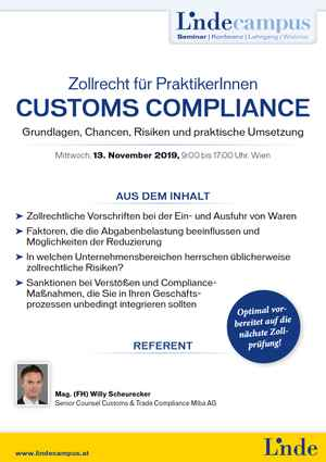 Customs Compliance – Zollrecht für PraktikerInnen
