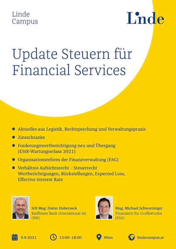 Update Steuern für Financial Services
