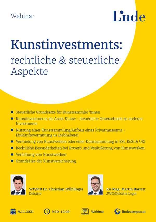 Kunstinvestments: rechtliche & steuerliche Aspekte