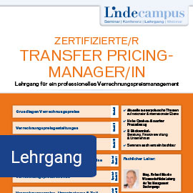 Lehrgang: Zertifizierte/r Transfer Pricing-ManagerIn